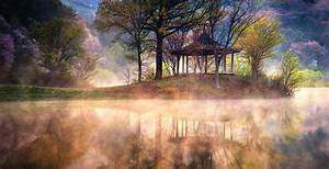 Lake, Sunrise, Mist, Reflection, Spring, Trees, Water, Nature, Landscape, Grass, Mountain