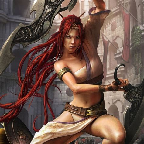 Fantasy Warrior Girl With Blades Red Haired Fantasy Girl