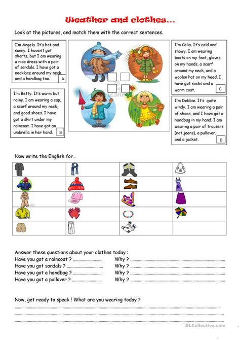 weather and clothes worksheet free esl printable