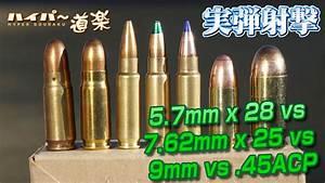 5 7mm X 28 Vs 7 62mm X 25 Vs 9mm Vs  45acp  U5f3e U85ac U306e U5a01 U529b U30c6 U30b9 U30c8  U30c7 U30b6 U30fc U30c8