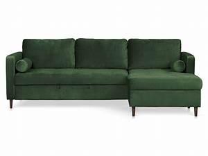 Canapé D Angle Vert : canap d 39 angle droit convertible 3 places en velours marlow coloris vert for t vente de canap ~ Teatrodelosmanantiales.com Idées de Décoration