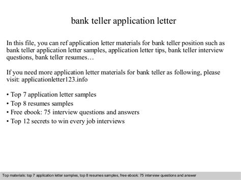 Questions For Teller Position In A Bank by Bank Teller Application Letter