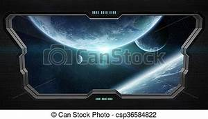 Clip Art of View of outer space from inside a space ...