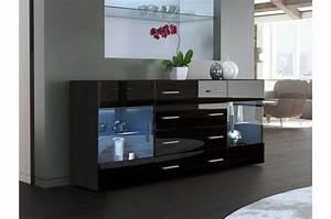 Meuble Salon Noir : meuble buffet moderne noir 2 portes en verre ~ Teatrodelosmanantiales.com Idées de Décoration