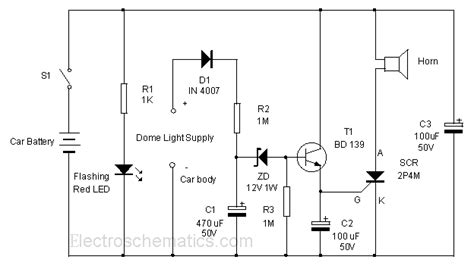 anti theft car alarm circuit