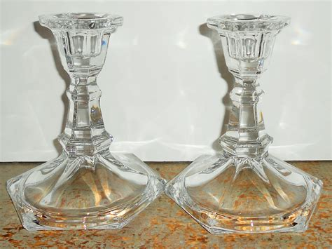 Clear Candlestick Holders by Vintage Candle Holders Clear Glass Glass Taper