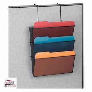 Wall mount hanging file folder organizer 3 pocket office for Hanging document organizer