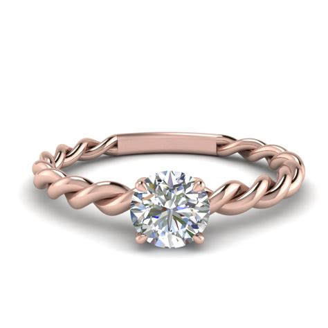 0 30 ct diamond round twisted engagement ring in 14k rose