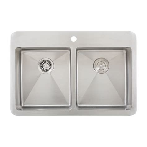 overmount stainless steel sink ticor tr1700 overmount 16 g stainless steel double bowl