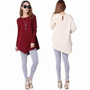 Top Quality Fashion Womenu0026#39;s Long Shirts To Wear With Leggings Tunic Tops For Leggings Mature ...