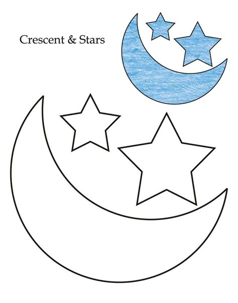 level crescent  stars coloring page