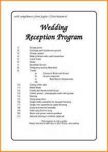 5 wedding reception order of events template grocery clerk - Order Of Wedding Reception