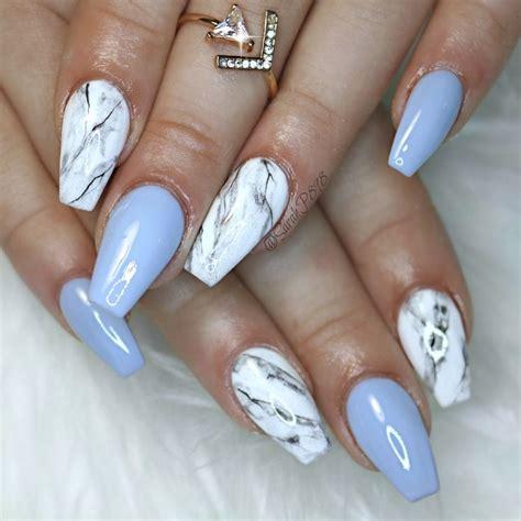 blue gel  marble nails marblenails coffinnails
