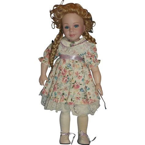 porcelain dolls treasures in lace porcelain doll blonde hair braids curls 14 in from hoosiercollectibles on ruby
