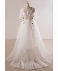 plus size flowing long tulle flowers beach wedding dress With floral beach wedding dresses