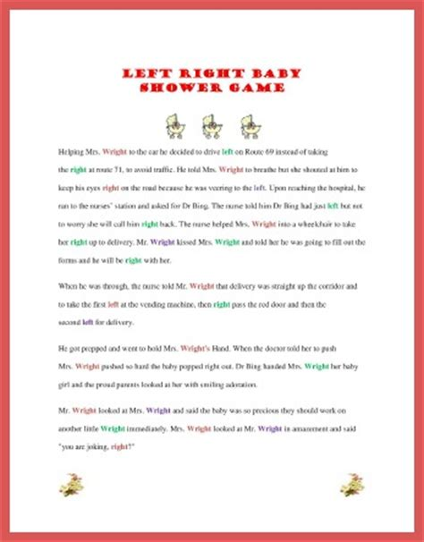 Left Right Story For Baby Shower by Free Printable Baby Shower