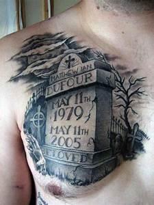 Back Arm Design 50 Tombstone Tattoos For Men Memorial Stone Designs