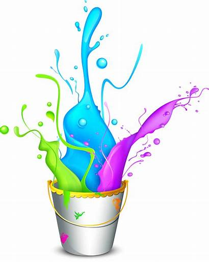 Holi Colorful Paint Frame Bucket Clipart Happy