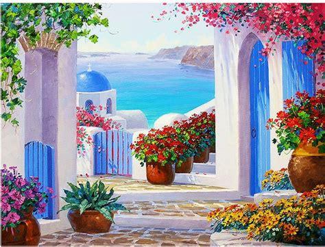 Wedding Decoration Wallpaper by High Quality Hd Mediterranean Garden Painting Wallpaper 3d