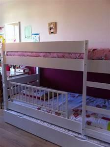 Barriere Lit Superposé : lit superpos enfant 1 2 3 coloris blanc avec sommier gigogne ~ Premium-room.com Idées de Décoration