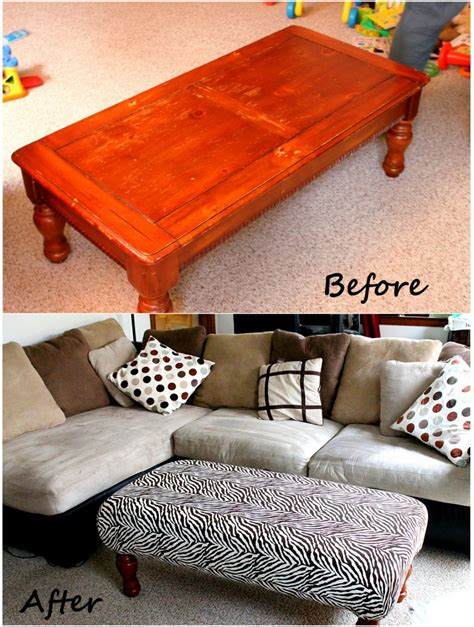 Make An Ottoman From A Coffee Table by Diy Ottoman Might Be Great To Pad Our Coffee Table To
