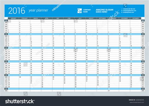 Yearly Wall Calendar Planner Template 2016 Stock Vector