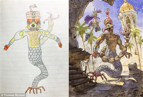 father turns  sons drawings  animated characters