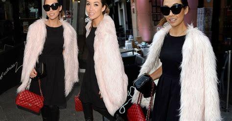 Myleene Klass Looks Chic In Faux Fur Coat And Towering
