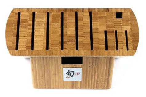 shun edo bamboo knife block  slot cutlery