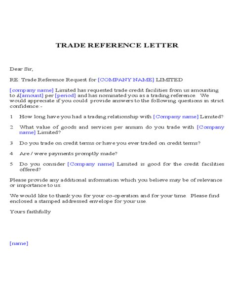 trade reference letter template uk humman