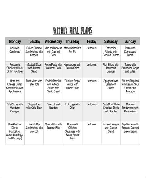 meal calendar templates  sample  format