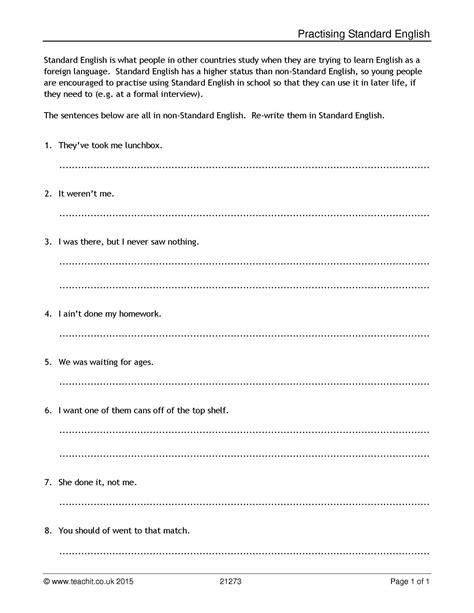 Practising Standard English