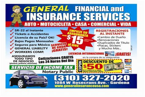 Flyer Spanish From General Insurance In Gardena, Ca 90247