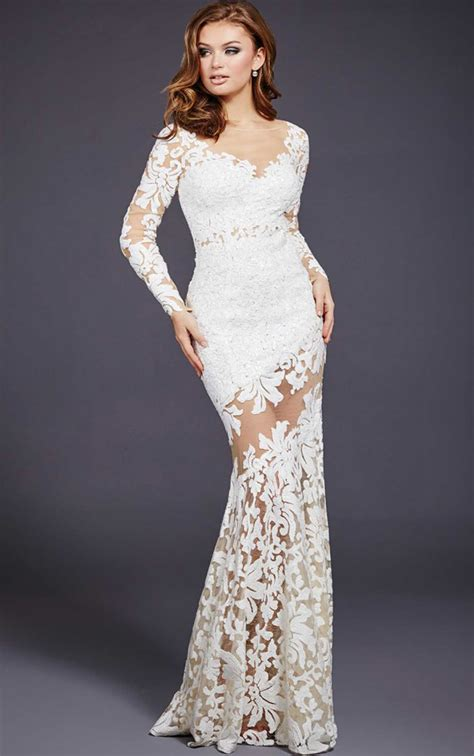 Jovani Dresses Womens White Long Sleeve Lace Sequinned