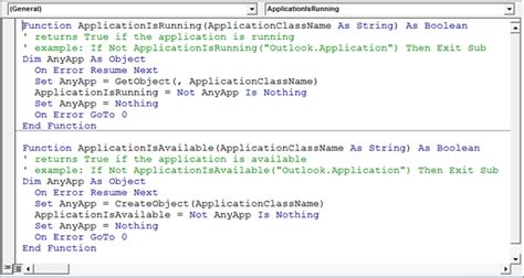 determine if an application is available using vba in