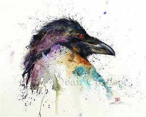 RAVEN Watercolor Bird Print Raven Art Watercolor Bird by