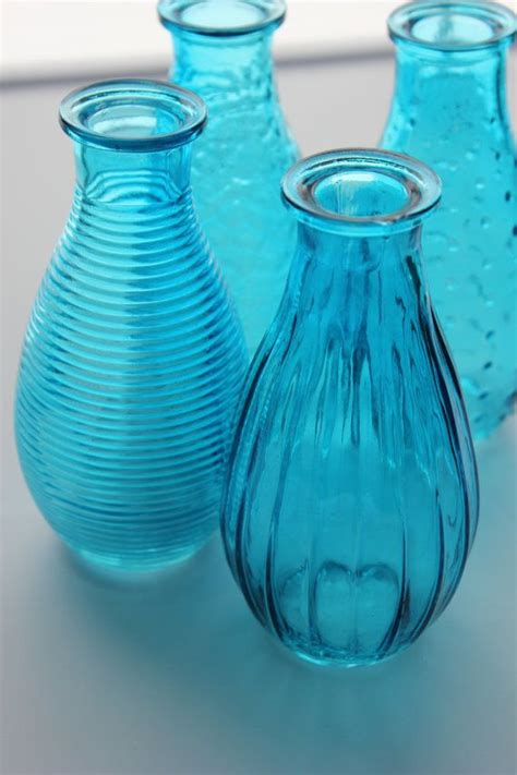 Teal Colored Vases by Set Of 10 Ten Aqua Bud Vase Glass Vases Carnival