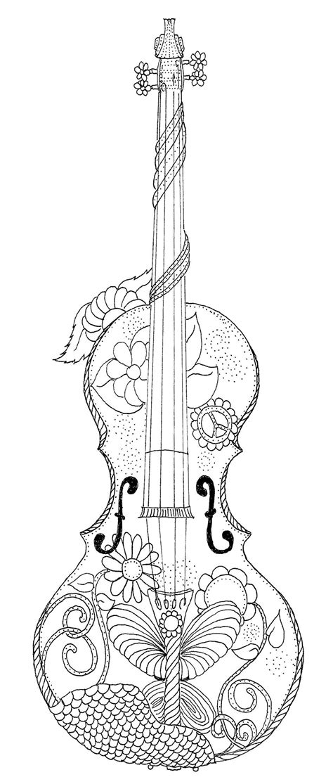 violin coloring page adult coloring journaling  markers