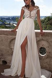white lace a line prom dress wedding dress