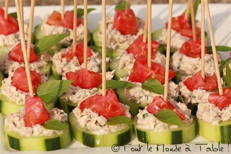 canapé bouche bouchées apéritives concombre rillettes de sardine tomates