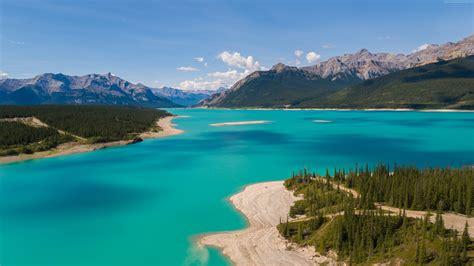 Wallpaper Abraham Lake Canada Mountain Nature 4k