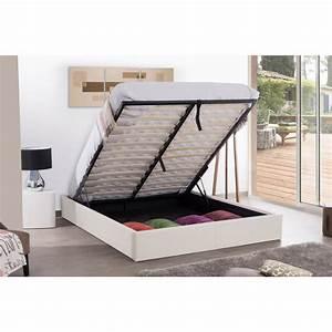 140x190 Lit Coffre : cadre lit coffre 140x190 blanc maison et styles ~ Teatrodelosmanantiales.com Idées de Décoration