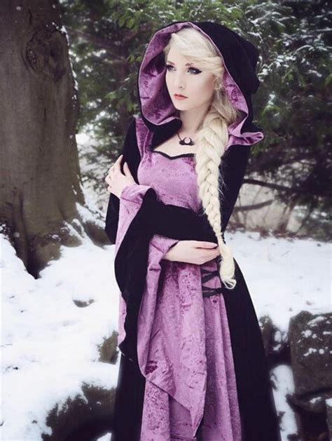 purple  black velvet gothic hooded medieval dress