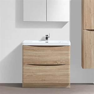 meuble salle de bain 90 cm chene a poser 2 tiroirs nature With plan vasque salle de bain 90 cm
