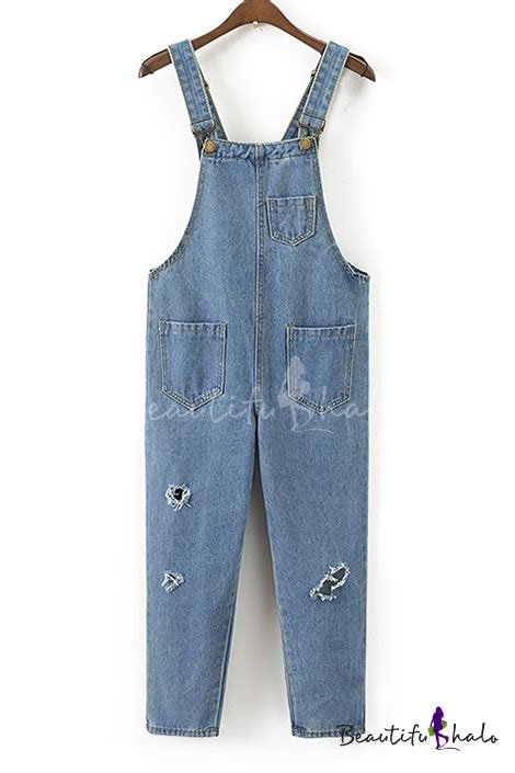 furla ripped jumpsuit light light wash ripped out straps denim jumpsuit with pockets