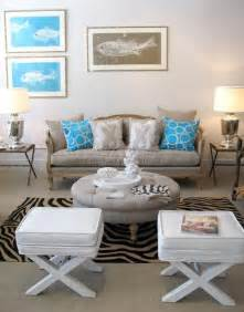 grey white and turquoise living room faux croc stool contemporary living room