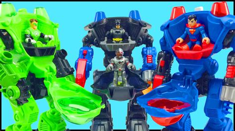 batman green lantern superman battle bane luthor brainiac in imaginext robot battle slam