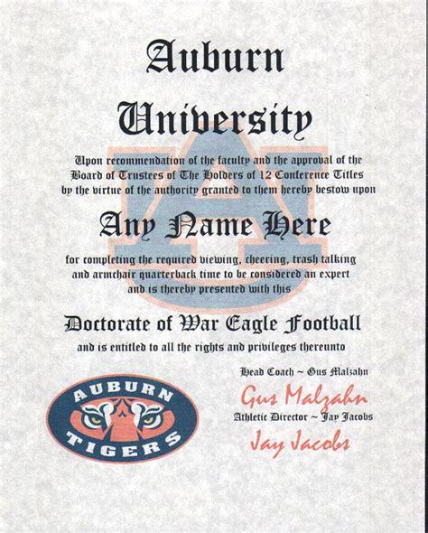 gifts for auburn fans auburn tigers football fan certificate diploma gift