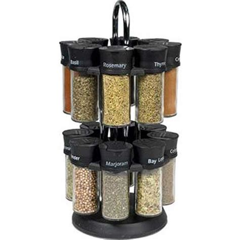 Spice Carousel by Olde Thompson 16 Jar Revolving Pre Filled Spice Carousel