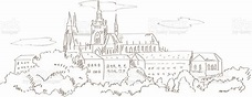 View On Prague And St Vitus Cathedral Hand Drawing Style ...